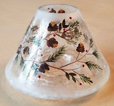 "2012 Yankee Candle Holiday Crackle Pinecone Jar Shade with Greens, Berries 4""x6"""