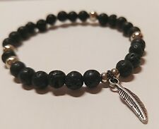 Beaded Elastic Bangle Bracelet Handmade Fashion Men Black Lava Stone