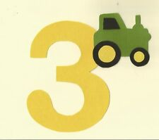Boy's Third  Birthday with Tractor Iron On Fabric Applique
