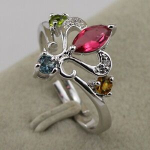 Size 7 Classy Multi-Color CZ Fashion Jewelry Gift White Gold Filled Ring rj2015