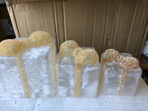 3  Frost Glass Presents Beaded Ribbon Valerie Parr Hill Christmas Gold Light See