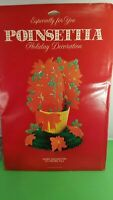 Vintage Christmas  Paper Honeycomb Christmas Decoration Poinsettia Basket NOS