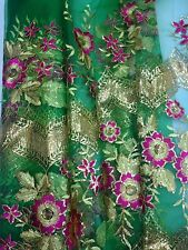 Embroidered Sequins Net  Lace Dress Wedding Evening Fabric  Green /Gold / Pink
