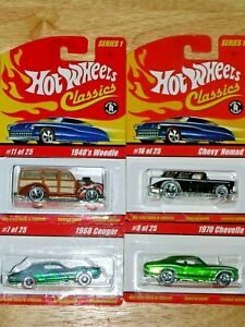 Hot Wheels'05 Classic Series1-#7-68 Cougar-#8-70-Chevelle-#11-40-Woodie-#16Nomad