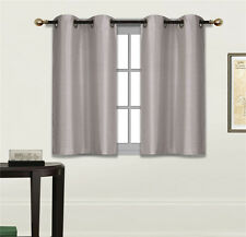 2 SMALL SHORT SILKY PANELS WINDOW DRESSING CURTAIN SEMISHEER SOLID COLORS N25