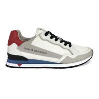 GUESS scarpe da Uomo Runner Sneakers in Pelle Sportive Eleganti Casual Bianche
