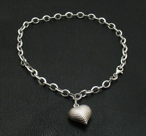Diamond Cut Heart Tag Charm Oval Ankle Bracelet Anklet Real 925 Sterling Silver