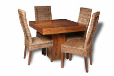 Wooden Rectangular Table & Chair Sets with 4 Seats
