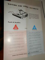 Vecchia pubblicita' SISTEMA CINE KODAK INSTAMATIC VARI MODELLI vintage COLLEZION