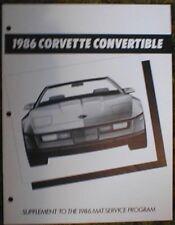 1986 Chevrolet Corvette Convertible ad mat sup Brochure 86 Chevy