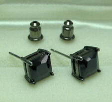 MEN Hip Hop Black Plated stud earrings with 8mm Princess Cut CZ Stones