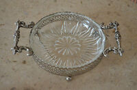 Beautiful Clear Vintage Glass and Chrome Candy Dish with Metal Handles. Triangle