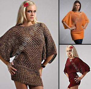 Ladies Womens Knitted Sweater Tunic Loose Batwing Jumper Oversized Tops 10 12