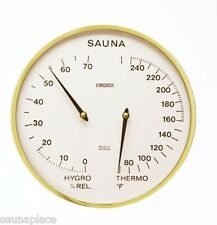 "Gold Rim Thermometer/Hygrometer 5 1/2"" Diameter, Fahrenheit, sauna accessories"