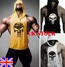 UK Men's Hoodie Vest Muscle Stringer Bodybuilding Punisher Gym Tank Top T-Shirt