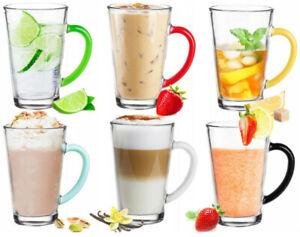 Glastasse Spring 300ml Teeglas Kaffeetasse farbiger Henkel Transparent