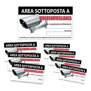 """Kit adesivi """"Area sottoposta a VIDEOSORVEGLIANZA"""" aggiornato al recente GDPR"""