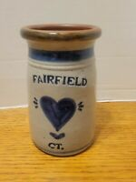 Vintage  Salt Glazed Cobalt Blue Stoneware FAIRFIELD CO. Crock signed and dated