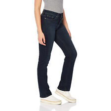 Levis 314 Shaping Straight Jeans Womens Blue Side Mid Rise Soft Stretch Denim