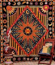 Indian Horoscope Tapestry Tablecloth Sheet  Wall Hanging Sun and Moon Art