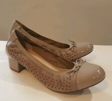 CLARKS LADIES BALCONY POEM LIGHT BROWN NUDE SUEDE PATENT LEATHER SHOES UK 5 D