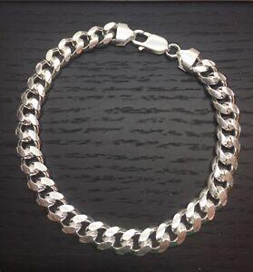 """Men's bracelet 925 Sterling Silver Miami Cuban link 8mm 8"""" or 9"""" Solid Bracelet"""