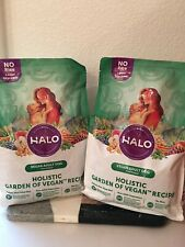 Two (2) Halo, Holistic Garden Of Vegan Recipe Dry Dog Food - 4 lb Bags Each