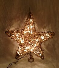 """12"""" Grapevine Gold Star 35 Light Christmas Holiday Rustic Tree Topper"""