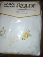 NEW NOS Vintage Pequot Luxury Muslin No Iron Maytime Double Fitted Sheet