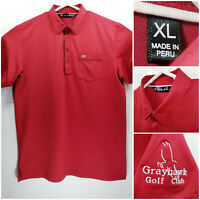 Travis Mathew Mens XL Golf Shirt Polo Red Grayhawk Golf Club