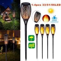 96LED Solaire Torche Jardin Lumière Danser Vacillante Flamme Paysage Lampe Déco