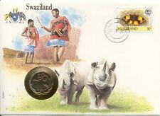 superbe enveloppe SWAZILAND pièce monnaie 20 cents 1986 UNC NEW NEUF rhinocéros