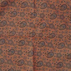 Peach Blue Paisley Ascot Cravat Pocket Square Combo Silk Blend