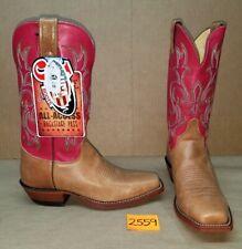 Womens Size 9.5 C JUSTIN Tan Hot Pink BRL620 Cowboy Boots Square Toe Bent Rail