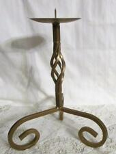 """Antique Twisted Wrought Iron Candle Stand 4 1/2"""" Holder 12"""" Diam. Base, 14"""" High"""