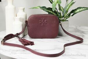 Tory Burch (67287) Thea Pebble Leather Imperial Garnet Camera Crossbody HandBag