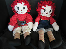 "Raggedy Ann & Andy Country Rag Dolls, Handmade, Yo Yo Quilt Skirt, 23"" Tall, New"