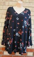 G21 BLACK WHITE PINK SPOTTED FLORAL FLARE LONG SLEEVE BLOUSE T SHIRT TOP 20