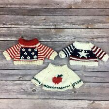 3 Sweaters for Collectible Bears Dolls Ganz Cottage Collectibles + 2 Unbranded