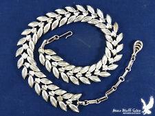 Vintage SIGNED CORO Leaf Link Necklace Choker Silvertone