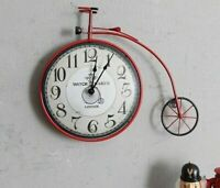 Bicycle Wall Clock Watch Retro Vintage Style Living Room Home Time Decors Clocks