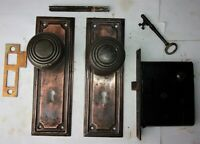 Antique VICTORIAN Tiger Copper Mission Backplates Door Knobs Mortise Lock Key