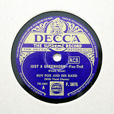 """ROY FOX & HIS BAND """"Just A Greenhorn"""" DECCA F-5675 [78 RPM]"""
