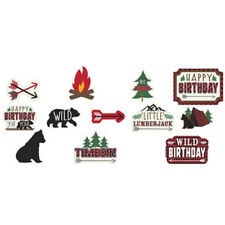 1st BIRTHDAY Little Lumberjack CUTOUT DECORATIONS (12) ~ Party Supplies Paper