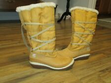 Timberland Snow Boots Women Tan Tall Fur Lined Lace Up Leather Size 8.5M