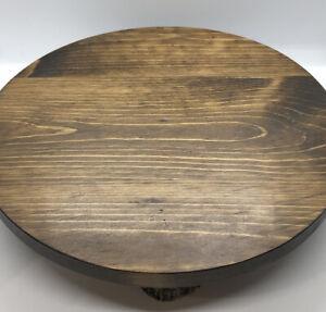 """12"""" Rustic Wood Cake/Dessert Stand. Dark Brown Round"""