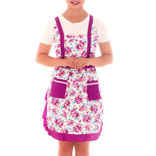 Vintage Style Country Roses Micro Peach Pockets Pinafore Apron Lined Purple