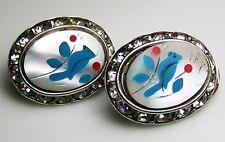 VINTAGE 1950s>1960s BLUEBIRD EARRINGS RHINESTONES & MOTHER OF PEARL