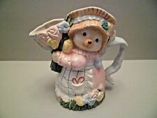 """Fitz and Floyd Omnibus Bear Hand-Painted 1 1/4 Qt. Pitcher Vase 1995 8 1/2"""" Tall"""