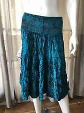 Poetry Clothing Viscose Velvet Teal Tiered BOHO Gypsy Skirt Sz Small